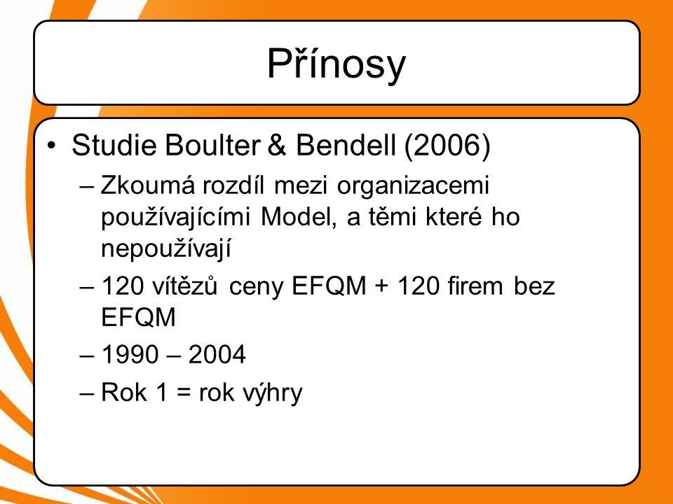 •Studie Boulter & Bendell (2006) –Zkoumá rozdíl mezi organizacemi používajícími Model, a těmi které ho nepoužívají –120 vítězů ceny EFQM + 120 firem bez EFQM –1990 – 2004 –Rok 1 = rok výhry