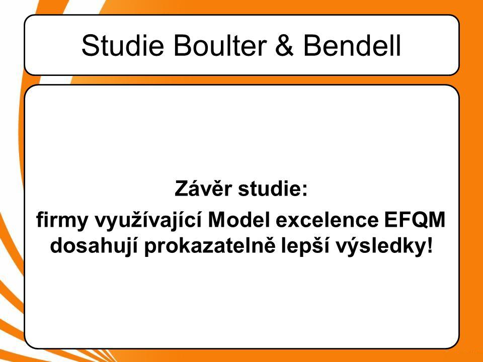 Závěr studie: firmy využívající Model excelence EFQM dosahují prokazatelně lepší výsledky!