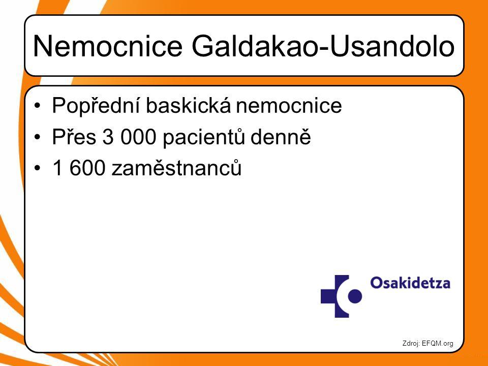 Nemocnice Galdakao-Usandolo •Popřední baskická nemocnice •Přes 3 000 pacientů denně •1 600 zaměstnanců Zdroj: EFQM.org