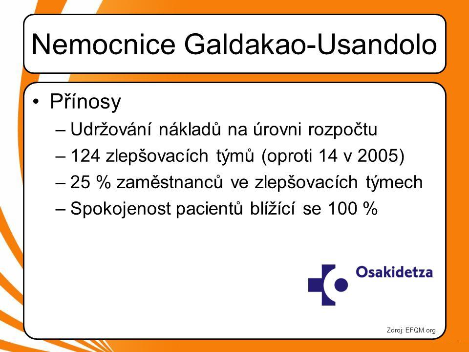 Nemocnice Galdakao-Usandolo •Přínosy –Udržování nákladů na úrovni rozpočtu –124 zlepšovacích týmů (oproti 14 v 2005) –25 % zaměstnanců ve zlepšovacích týmech –Spokojenost pacientů blížící se 100 % Zdroj: EFQM.org