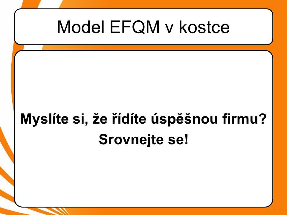 EFQM v kostce •Jeden z nejpropracovanějších Modelů řízení •Firmy, které pracují s Modelem mají dlouhodobě prokazatelně lepší výsledky –Lepší rentabilita –Vyšší stabilita