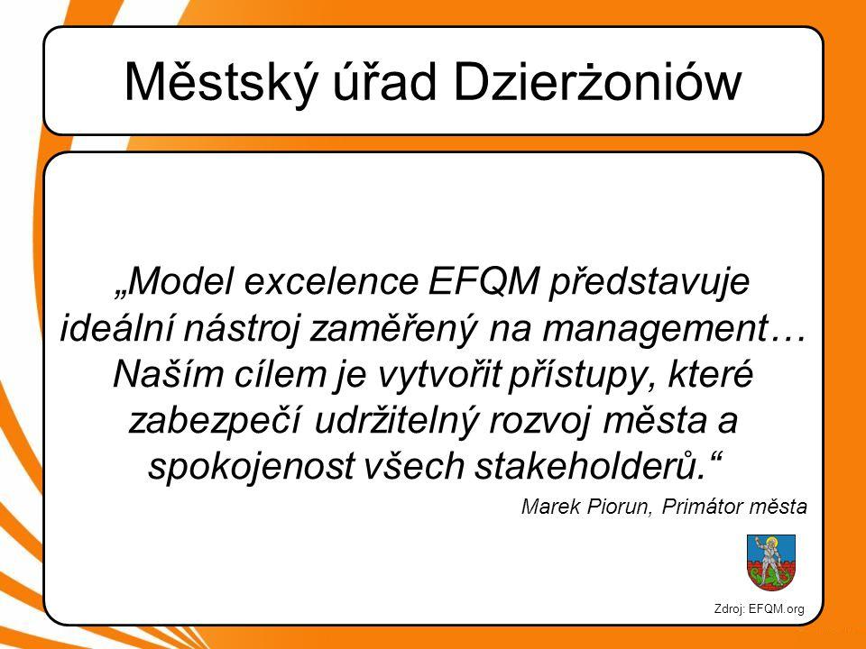"""Městský úřad Dzierżoniów """"Model excelence EFQM představuje ideální nástroj zaměřený na management… Naším cílem je vytvořit přístupy, které zabezpečí udržitelný rozvoj města a spokojenost všech stakeholderů. Marek Piorun, Primátor města Zdroj: EFQM.org"""
