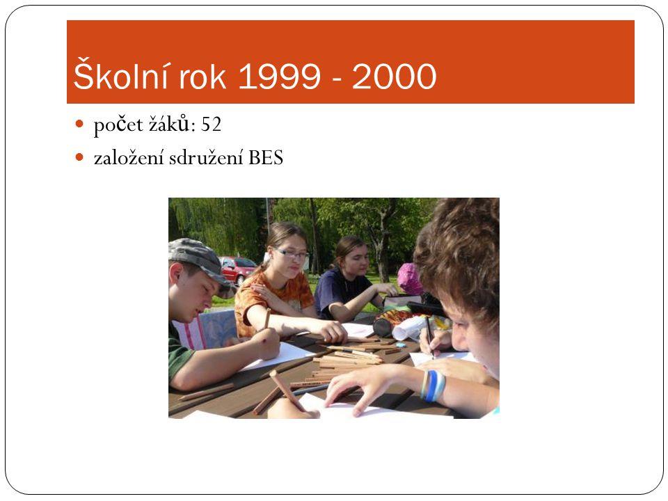 Školní rok 1999 - 2000  po č et žák ů : 52  založení sdružení BES