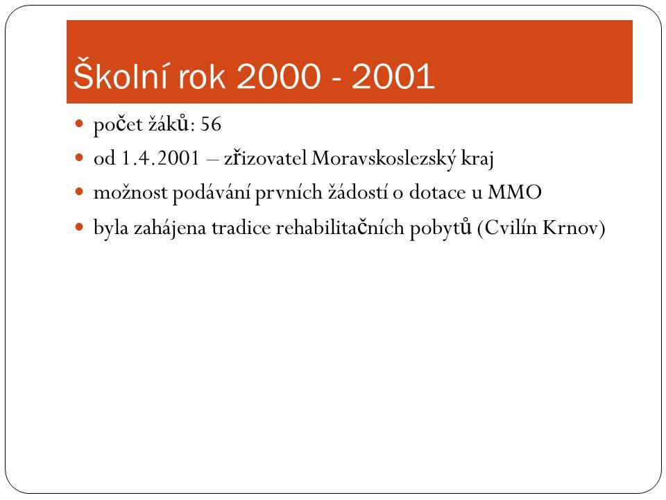 Školní rok 2000 - 2001  po č et žák ů : 56  od 1.4.2001 – z ř izovatel Moravskoslezský kraj  možnost podávání prvních žádostí o dotace u MMO  byla