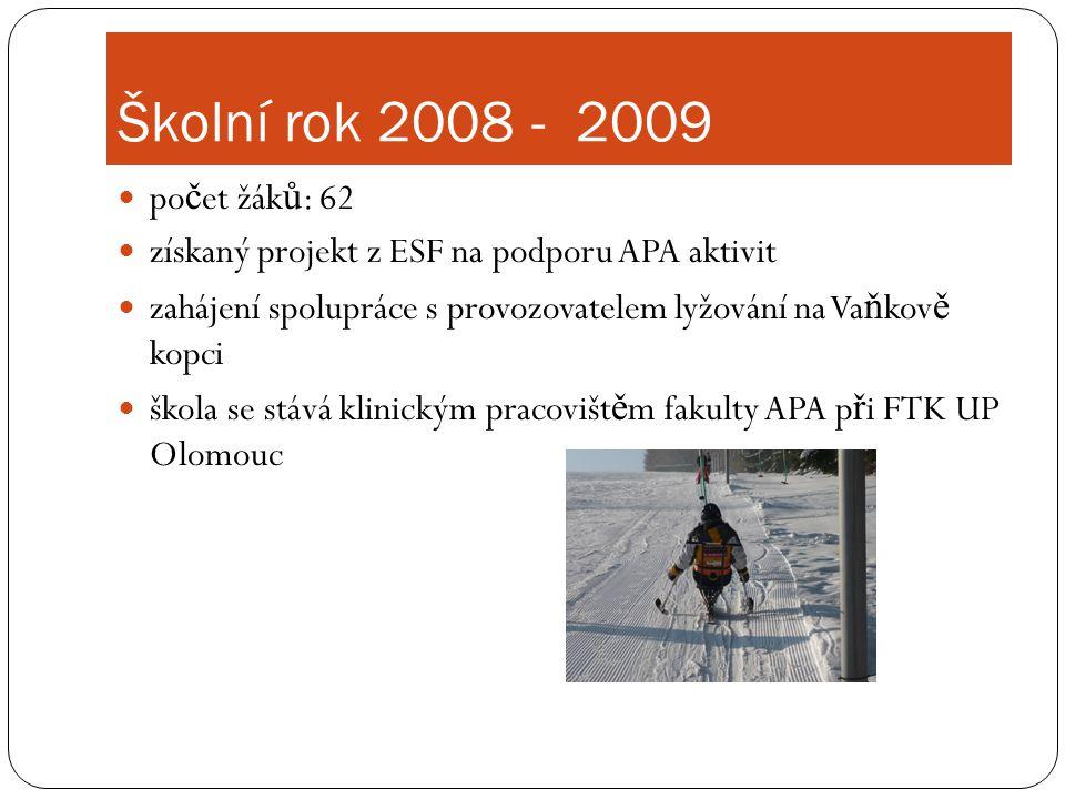 Školní rok 2008 - 2009  po č et žák ů : 62  získaný projekt z ESF na podporu APA aktivit  zahájení spolupráce s provozovatelem lyžování na Va ň kov