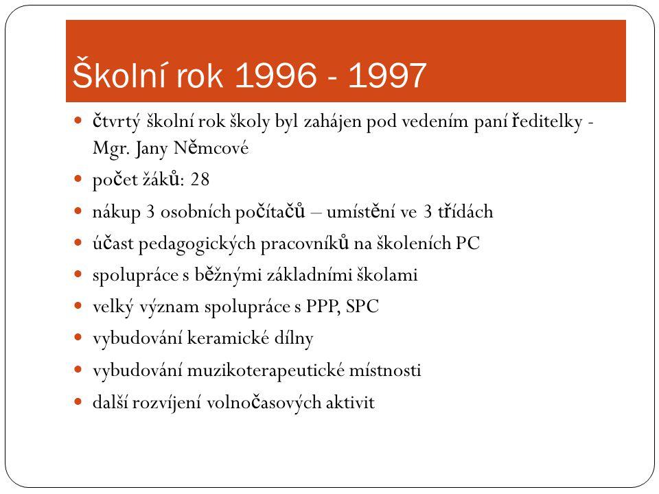 Školní rok 1996 - 1997  č tvrtý školní rok školy byl zahájen pod vedením paní ř editelky - Mgr. Jany N ě mcové  po č et žák ů : 28  nákup 3 osobníc