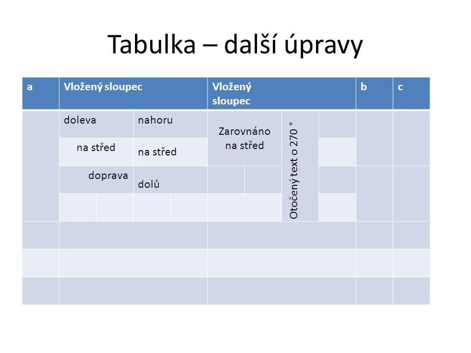 Tabulka – další úpravy aVložený sloupecVložený sloupec bc dolevanahoru Zarovnáno na střed Otočený text o 270 ° na střed doprava dolů