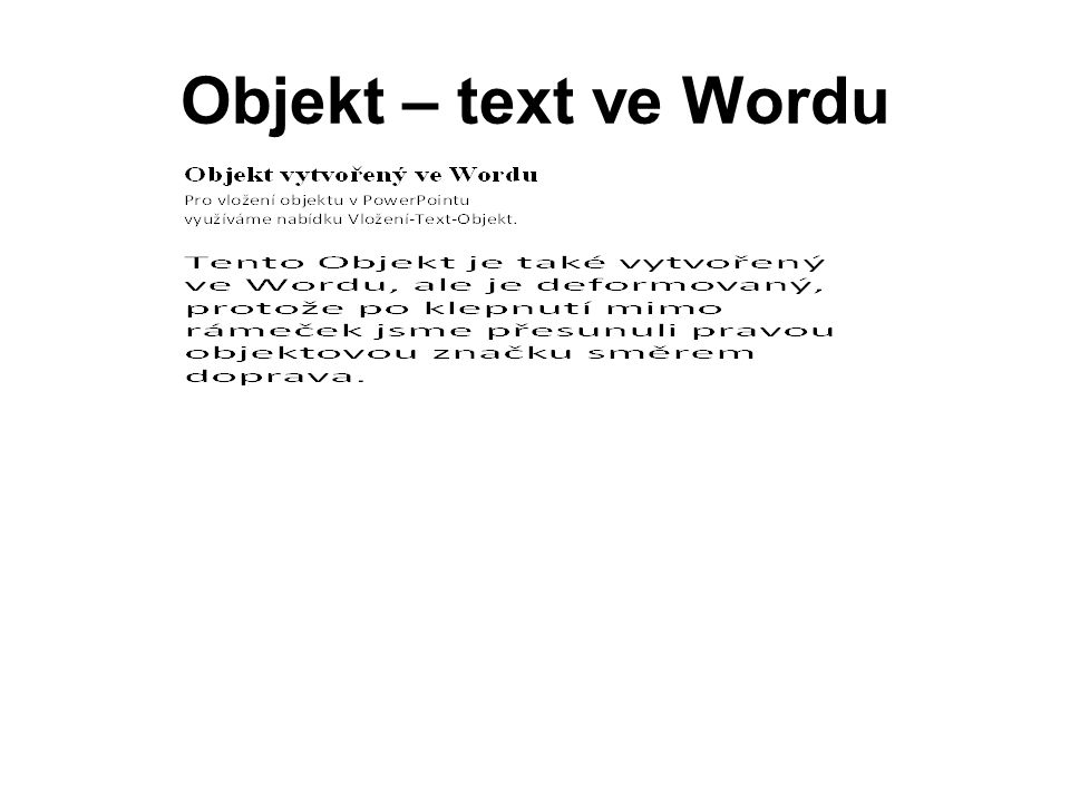 Objekt – text ve Wordu