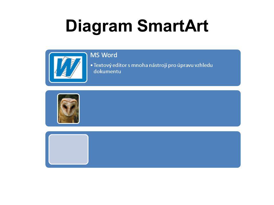 Diagram SmartArt MS Word •Textový editor s mnoha nástroji pro úpravu vzhledu dokumentu