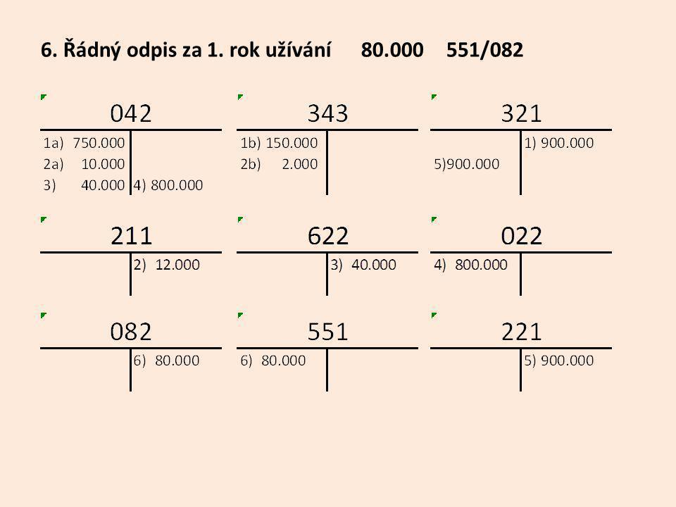 6. Řádný odpis za 1. rok užívání 80.000551/082