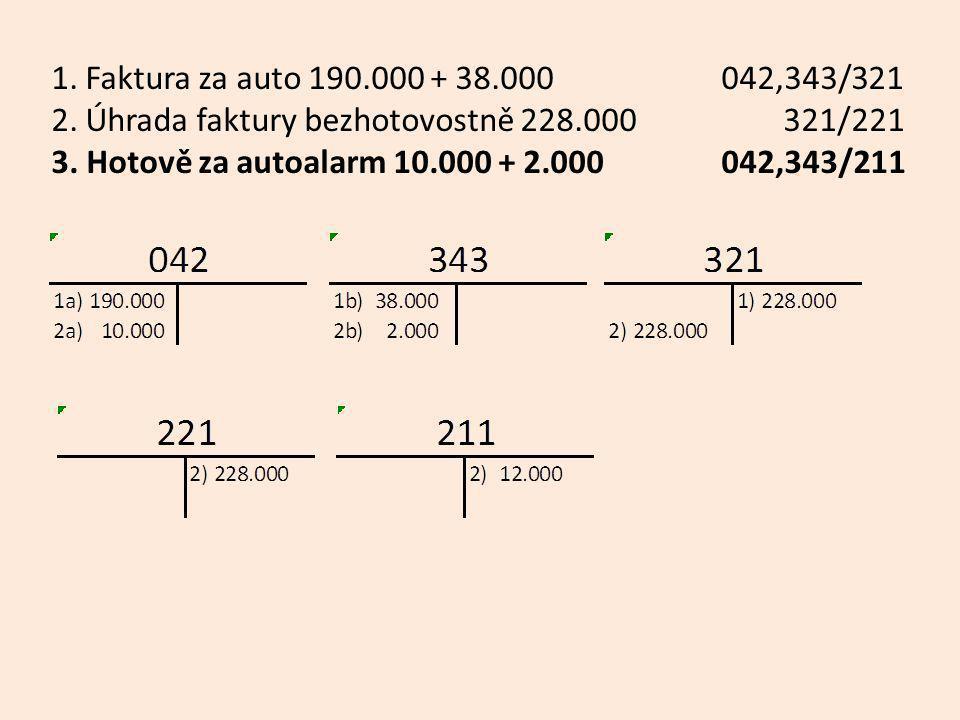 1. Faktura za auto 190.000 + 38.000 042,343/321 2. Úhrada faktury bezhotovostně 228.000 321/221 3. Hotově za autoalarm 10.000 + 2.000 042,343/211