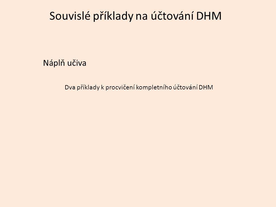 Souvislé příklady na účtování DHM Náplň učiva Dva příklady k procvičení kompletního účtování DHM