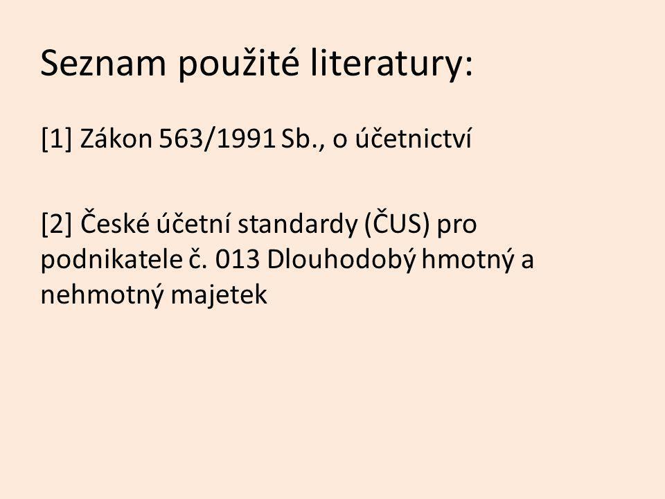 Seznam použité literatury: [1] Zákon 563/1991 Sb., o účetnictví [2] České účetní standardy (ČUS) pro podnikatele č. 013 Dlouhodobý hmotný a nehmotný m
