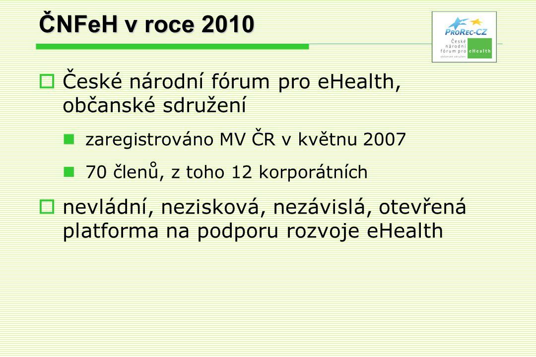 ČNFeH v roce 2010  České národní fórum pro eHealth, občanské sdružení  zaregistrováno MV ČR v květnu 2007  70 členů, z toho 12 korporátních  nevládní, nezisková, nezávislá, otevřená platforma na podporu rozvoje eHealth