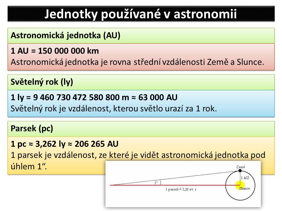 Jednotky používané v astronomii Astronomická jednotka (AU) 1 AU = 150 000 000 km Astronomická jednotka je rovna střední vzdálenosti Země a Slunce. 1 A