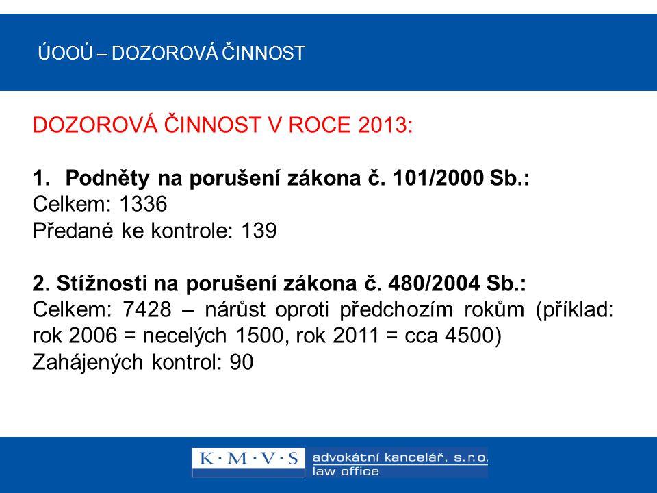 ÚOOÚ – DOZOROVÁ ČINNOST DOZOROVÁ ČINNOST V ROCE 2013: 1.Podněty na porušení zákona č.