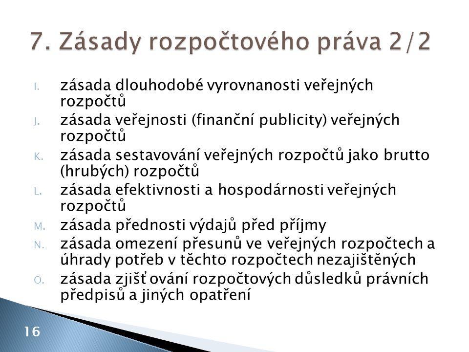 I. zásada dlouhodobé vyrovnanosti veřejných rozpočtů J. zásada veřejnosti (finanční publicity) veřejných rozpočtů K. zásada sestavování veřejných rozp