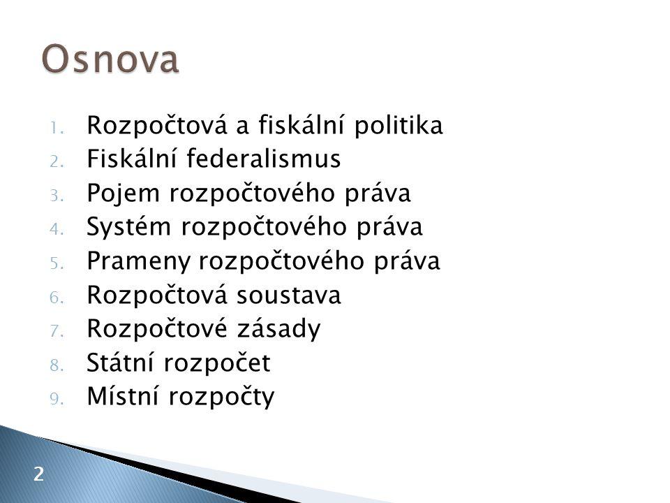1. Rozpočtová a fiskální politika 2. Fiskální federalismus 3. Pojem rozpočtového práva 4. Systém rozpočtového práva 5. Prameny rozpočtového práva 6. R