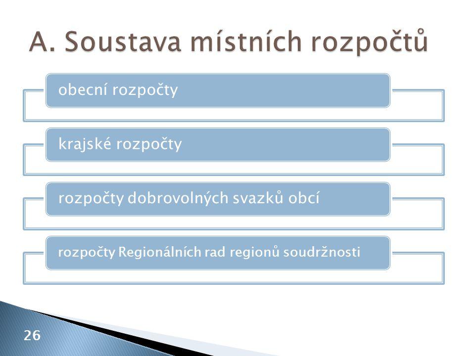 26 obecní rozpočtykrajské rozpočtyrozpočty dobrovolných svazků obcí rozpočty Regionálních rad regionů soudržnosti