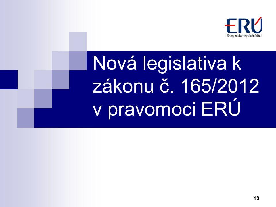 Nová legislativa k zákonu č. 165/2012 v pravomoci ERÚ 13
