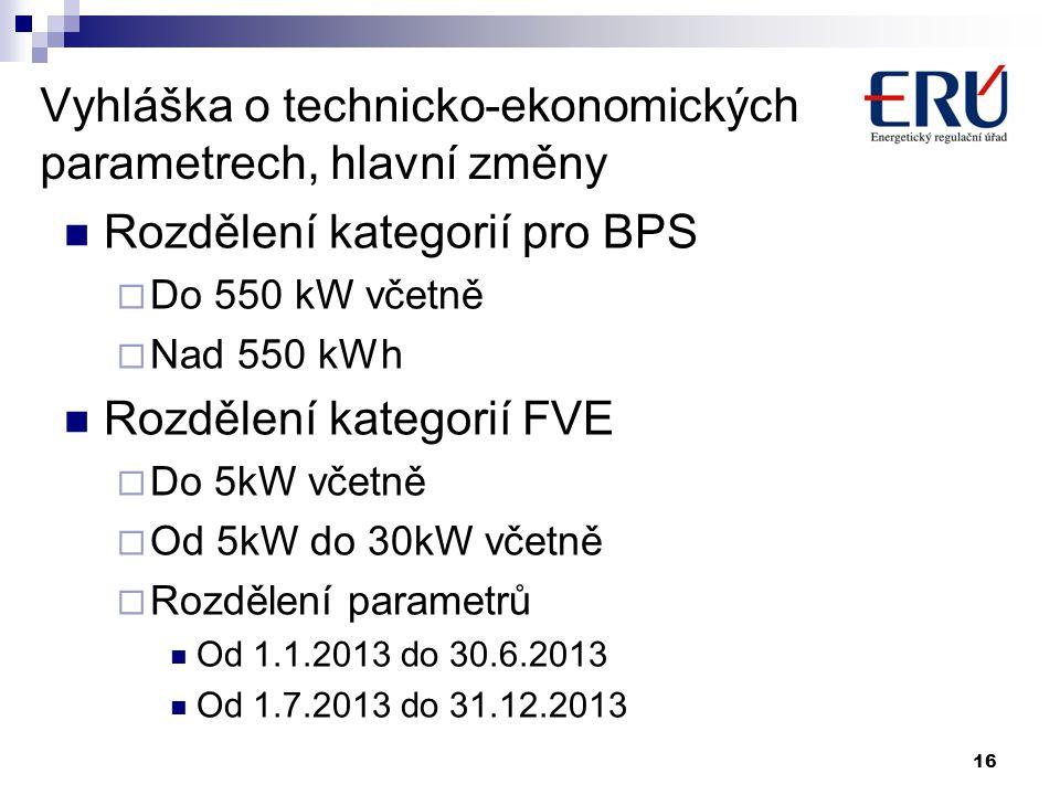 Vyhláška o technicko-ekonomických parametrech, hlavní změny  Rozdělení kategorií pro BPS  Do 550 kW včetně  Nad 550 kWh  Rozdělení kategorií FVE 