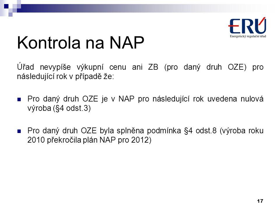 Kontrola na NAP Úřad nevypíše výkupní cenu ani ZB (pro daný druh OZE) pro následující rok v případě že:  Pro daný druh OZE je v NAP pro následující r
