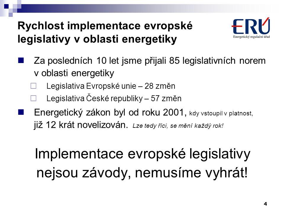 4 Rychlost implementace evropské legislativy v oblasti energetiky  Za posledních 10 let jsme přijali 85 legislativních norem v oblasti energetiky  L