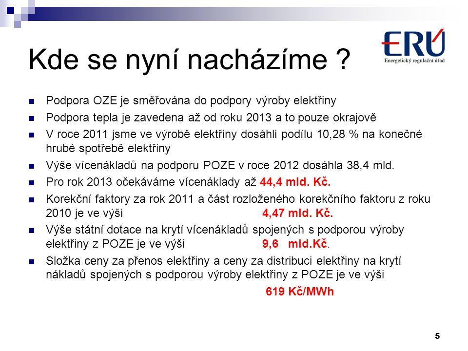 Kde se nyní nacházíme ?  Podpora OZE je směřována do podpory výroby elektřiny  Podpora tepla je zavedena až od roku 2013 a to pouze okrajově  V roc