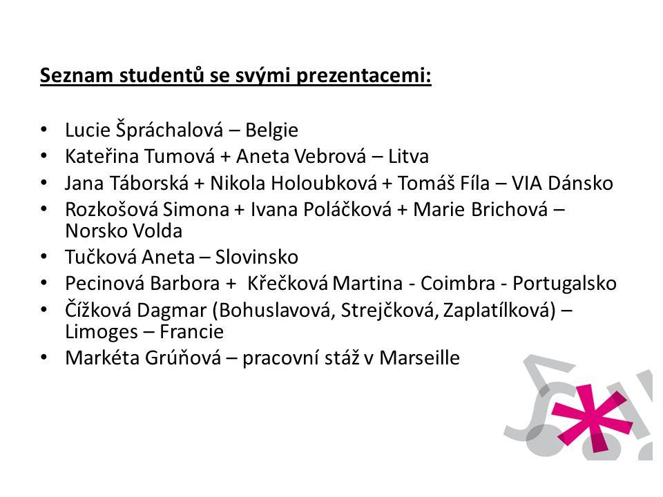 Seznam studentů se svými prezentacemi: • Lucie Špráchalová – Belgie • Kateřina Tumová + Aneta Vebrová – Litva • Jana Táborská + Nikola Holoubková + To