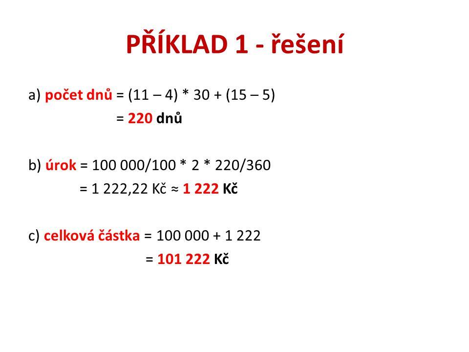 PŘÍKLAD 1 - řešení a) počet dnů = (11 – 4) * 30 + (15 – 5) = 220 dnů b) úrok = 100 000/100 * 2 * 220/360 = 1 222,22 Kč ≈ 1 222 Kč c) celková částka =