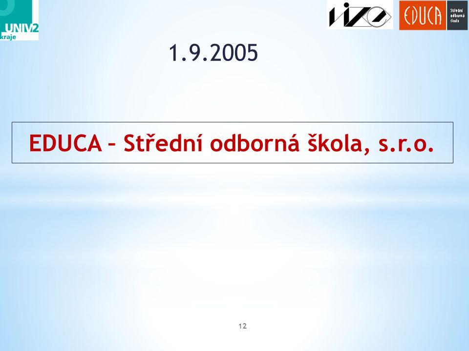 1.9.2005 12 EDUCA – Střední odborná škola, s.r.o.