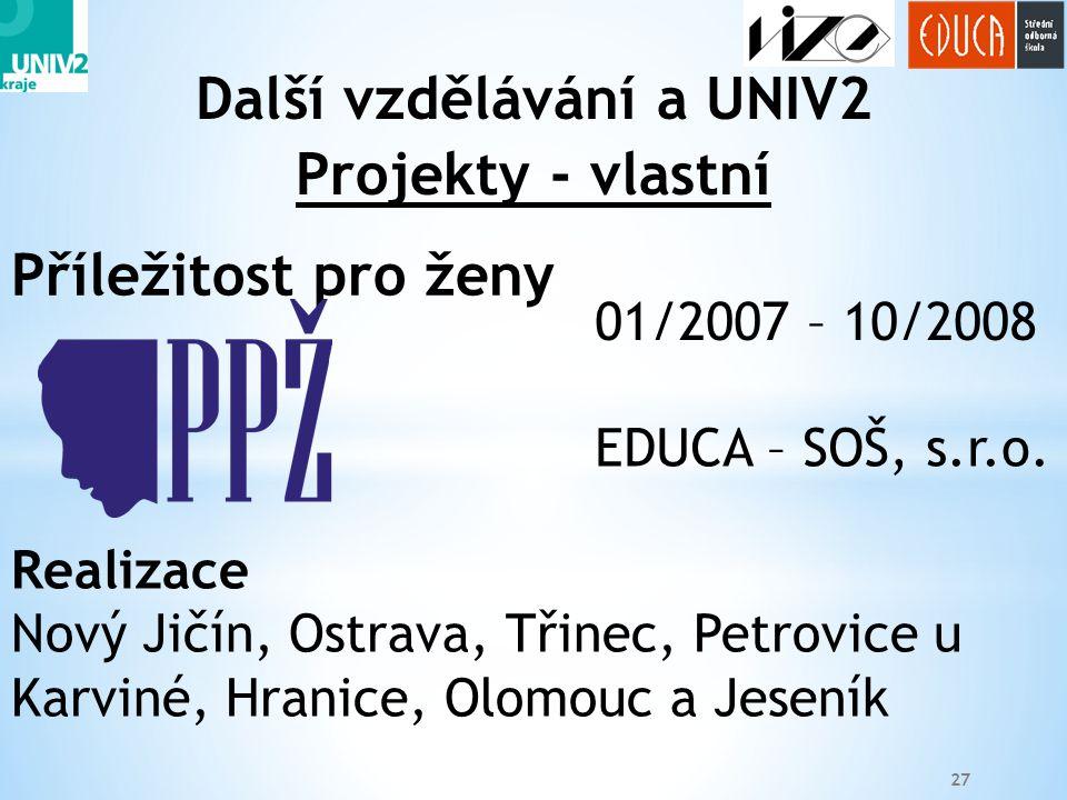 27 Projekty - vlastní Další vzdělávání a UNIV2 01/2007 – 10/2008 EDUCA – SOŠ, s.r.o. Realizace Nový Jičín, Ostrava, Třinec, Petrovice u Karviné, Hrani