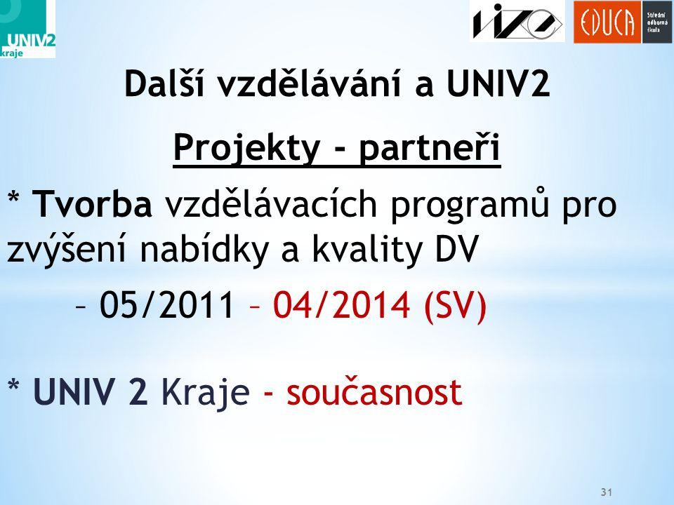 31 Projekty - partneři * Tvorba vzdělávacích programů pro zvýšení nabídky a kvality DV – 05/2011 – 04/2014 (SV) * UNIV 2 Kraje - současnost Další vzdělávání a UNIV2