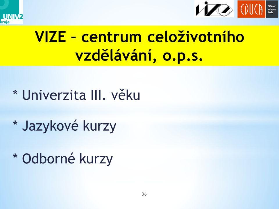 * Univerzita III. věku 36 VIZE – centrum celoživotního vzdělávání, o.p.s. * Jazykové kurzy * Odborné kurzy