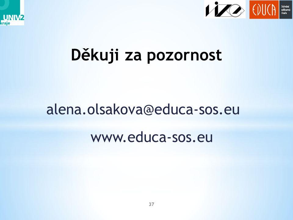 alena.olsakova@educa-sos.eu 37 Děkuji za pozornost www.educa-sos.eu