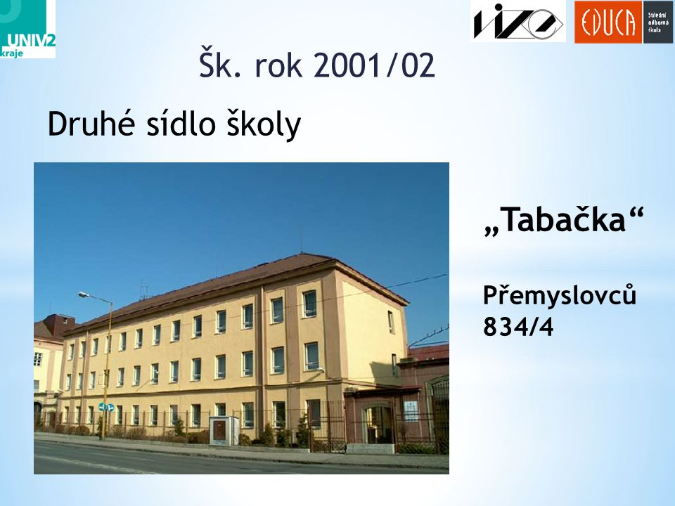 """Šk. rok 2001/02 9 Druhé sídlo školy """"Tabačka"""" Přemyslovců 834/4"""