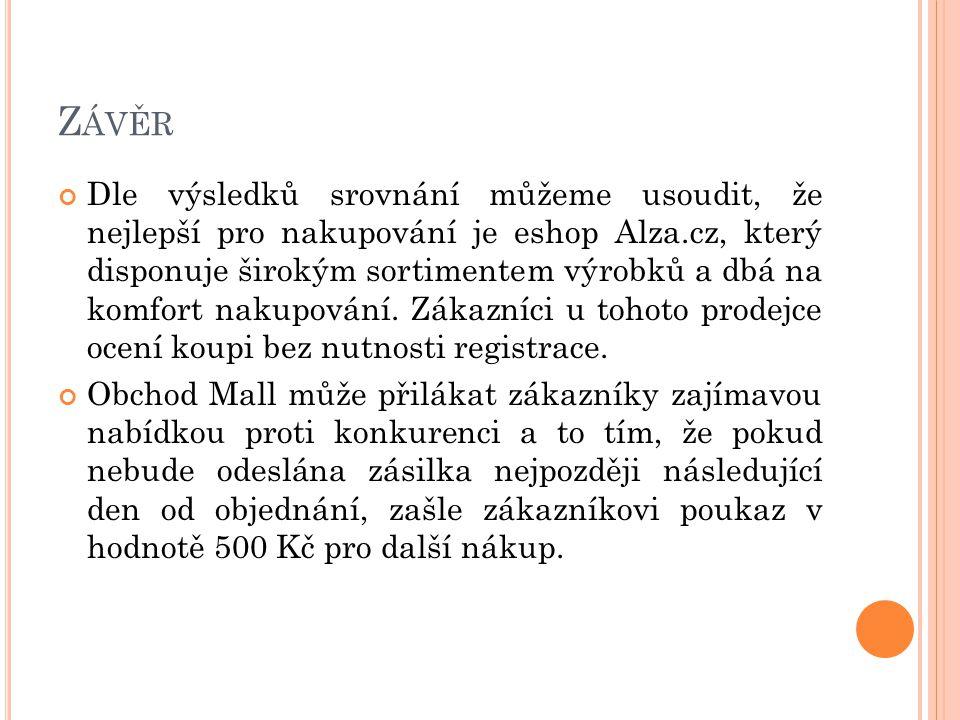 Z ÁVĚR Dle výsledků srovnání můžeme usoudit, že nejlepší pro nakupování je eshop Alza.cz, který disponuje širokým sortimentem výrobků a dbá na komfort nakupování.