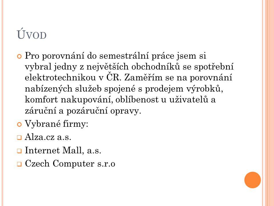 Ú VOD Pro porovnání do semestrální práce jsem si vybral jedny z největších obchodníků se spotřební elektrotechnikou v ČR. Zaměřím se na porovnání nabí