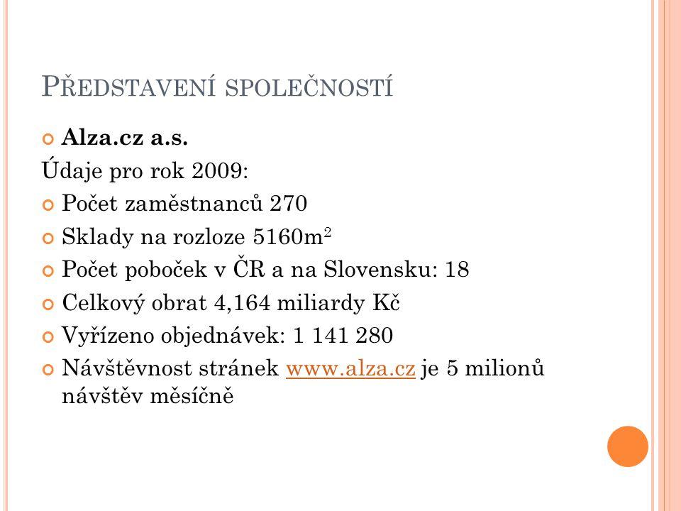 P ŘEDSTAVENÍ SPOLEČNOSTÍ Alza.cz a.s. Údaje pro rok 2009: Počet zaměstnanců 270 Sklady na rozloze 5160m 2 Počet poboček v ČR a na Slovensku: 18 Celkov