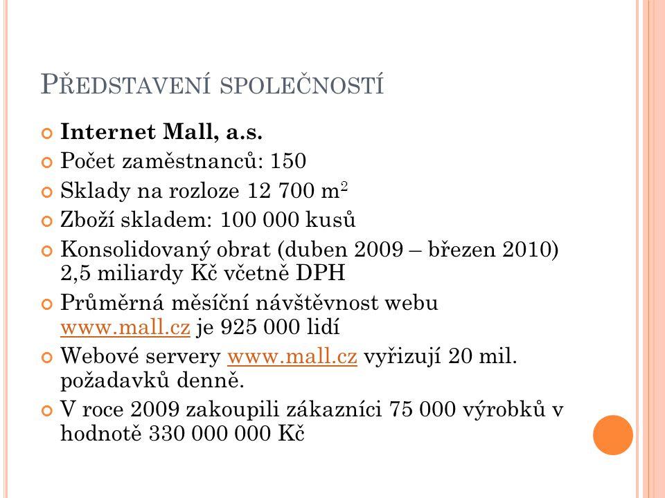 P ŘEDSTAVENÍ SPOLEČNOSTÍ Internet Mall, a.s. Počet zaměstnanců: 150 Sklady na rozloze 12 700 m 2 Zboží skladem: 100 000 kusů Konsolidovaný obrat (dube