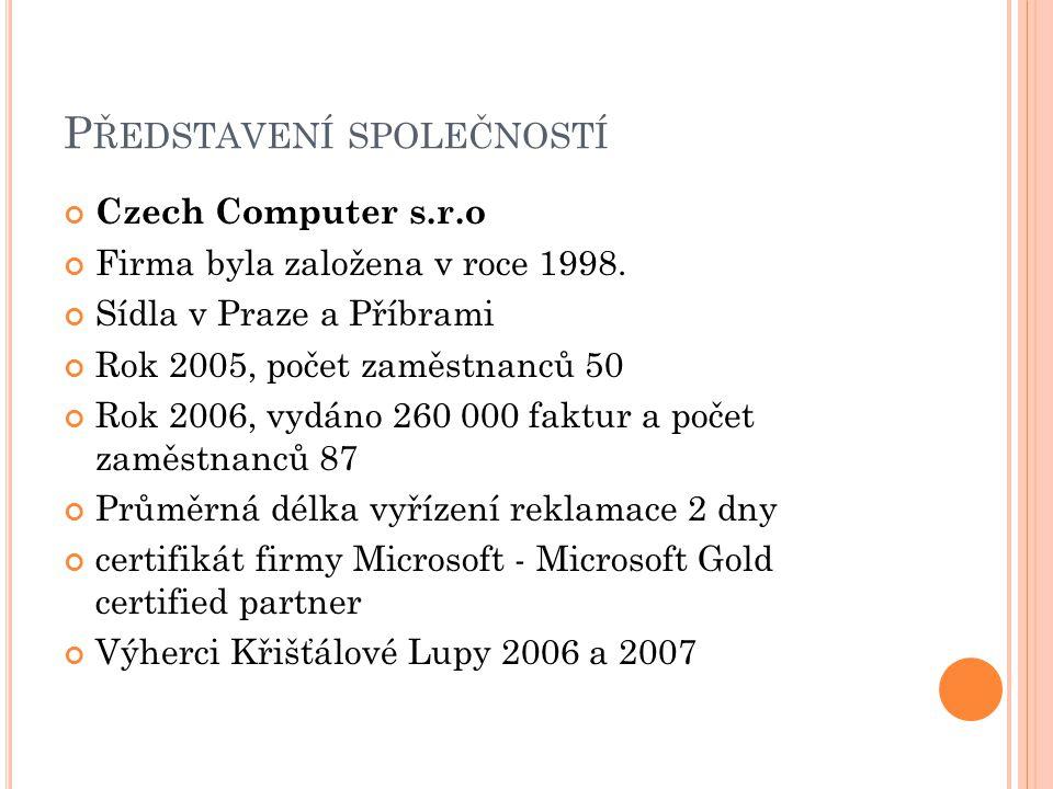 P ŘEDSTAVENÍ SPOLEČNOSTÍ Czech Computer s.r.o Firma byla založena v roce 1998. Sídla v Praze a Příbrami Rok 2005, počet zaměstnanců 50 Rok 2006, vydán
