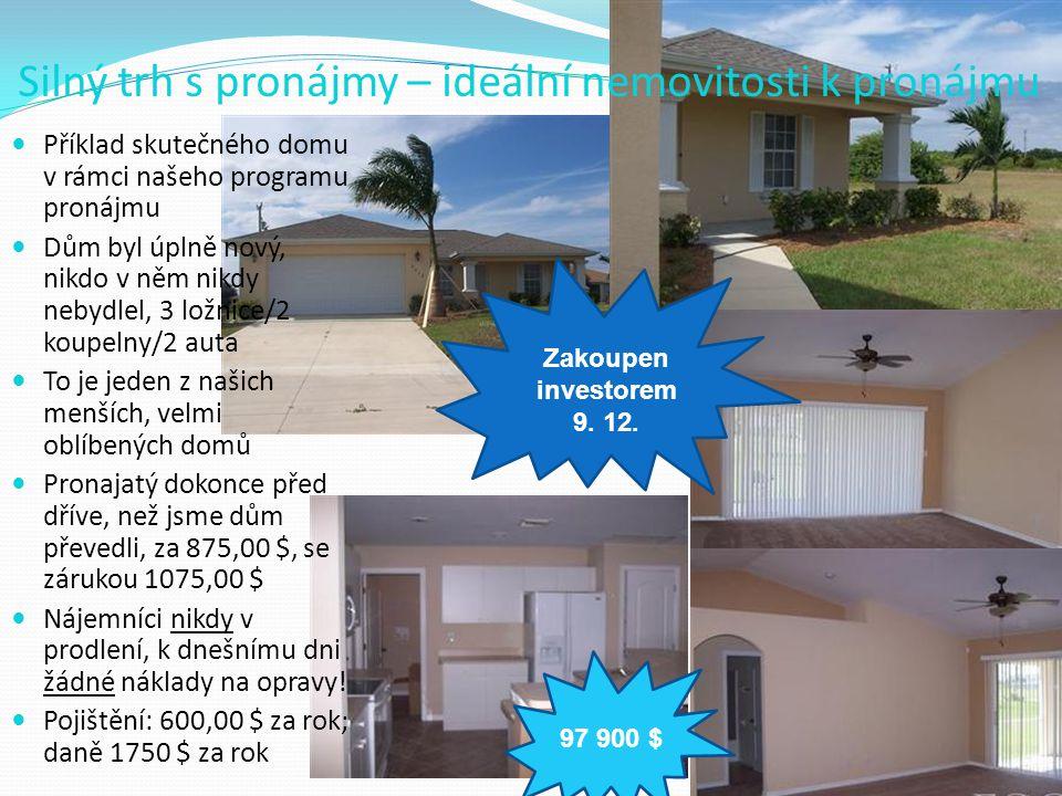 Silný trh s pronájmy – ideální nemovitosti k pronájmu  Příklad skutečného domu v rámci našeho programu pronájmu  Dům byl úplně nový, nikdo v něm nik