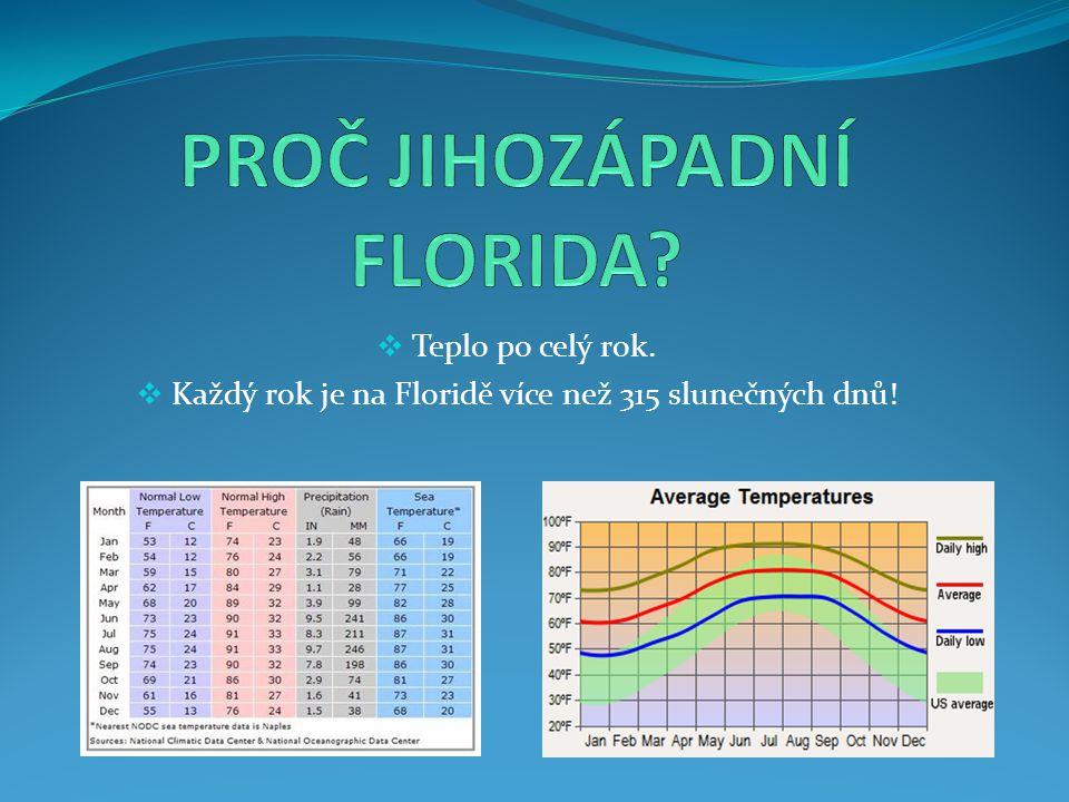  Teplo po celý rok.  Každý rok je na Floridě více než 315 slunečných dnů!