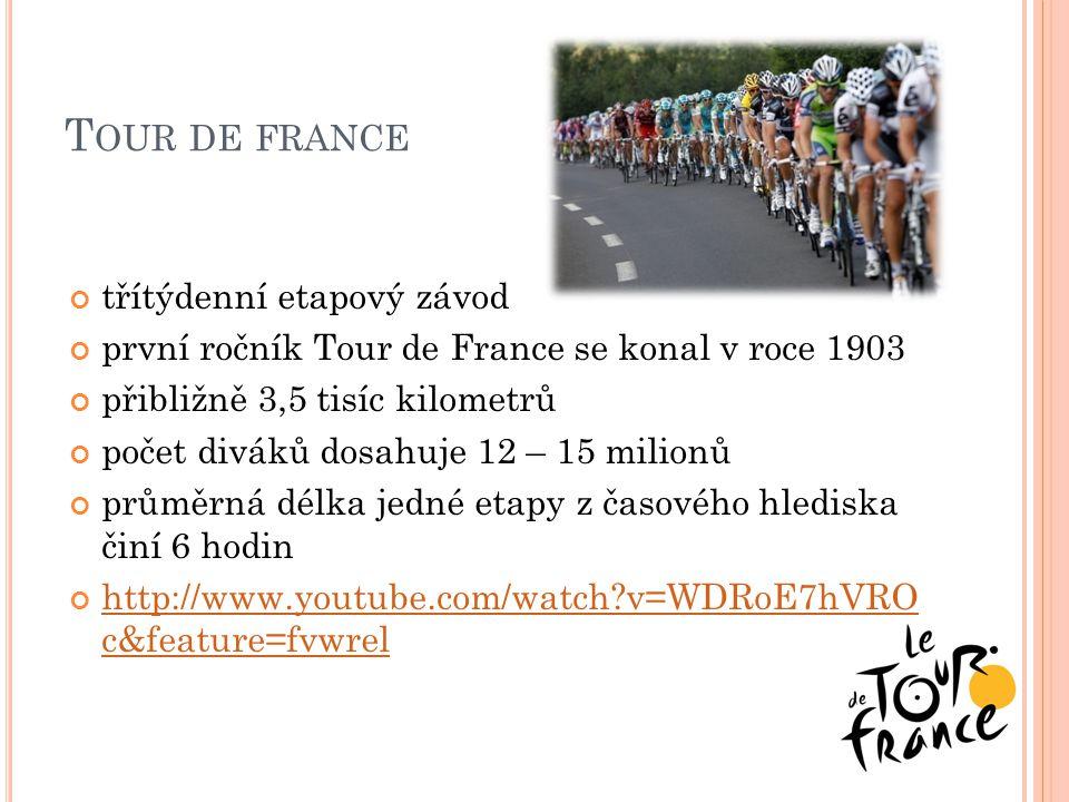 T OUR DE FRANCE třítýdenní etapový závod první ročník Tour de France se konal v roce 1903 přibližně 3,5 tisíc kilometrů počet diváků dosahuje 12 – 15 milionů průměrná délka jedné etapy z časového hlediska činí 6 hodin http://www.youtube.com/watch?v=WDRoE7hVRO c&feature=fvwrel
