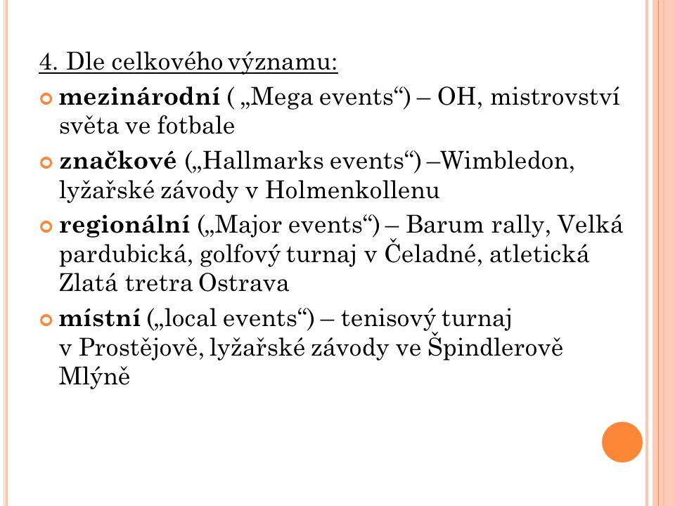 """4. Dle celkového významu: mezinárodní ( """"Mega events"""") – OH, mistrovství světa ve fotbale značkové (""""Hallmarks events"""") –Wimbledon, lyžařské závody v"""