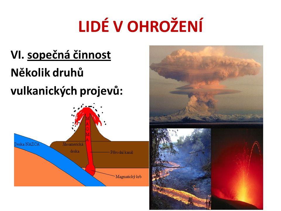 LIDÉ V OHROŽENÍ VI. sopečná činnost Několik druhů vulkanických projevů:
