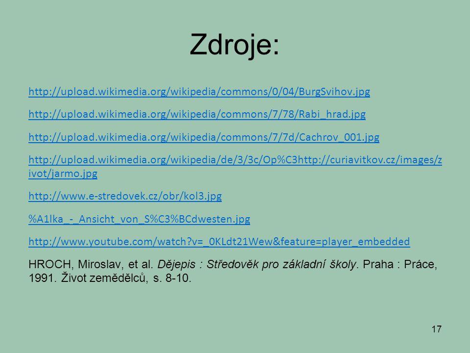 Zdroje: http://upload.wikimedia.org/wikipedia/commons/0/04/BurgSvihov.jpg http://upload.wikimedia.org/wikipedia/commons/7/78/Rabi_hrad.jpg http://upload.wikimedia.org/wikipedia/commons/7/7d/Cachrov_001.jpg http://upload.wikimedia.org/wikipedia/de/3/3c/Op%C3http://curiavitkov.cz/images/z ivot/jarmo.jpg http://www.e-stredovek.cz/obr/kol3.jpg %A1lka_-_Ansicht_von_S%C3%BCdwesten.jpg http://www.youtube.com/watch?v=_0KLdt21Wew&feature=player_embedded HROCH, Miroslav, et al.