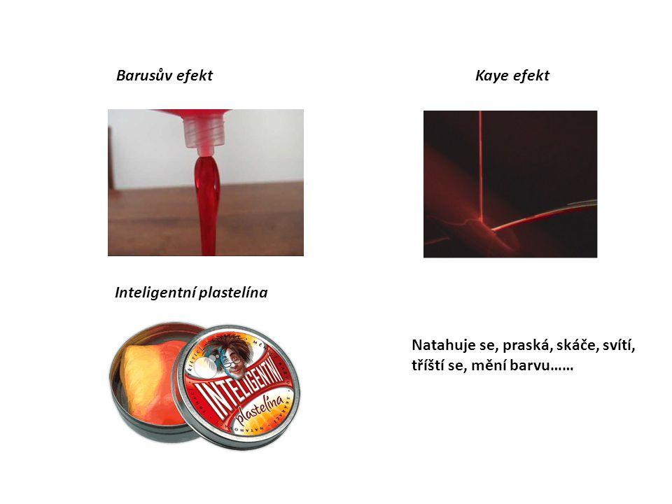 Barusův efekt Kaye efekt Inteligentní plastelína Natahuje se, praská, skáče, svítí, tříští se, mění barvu……