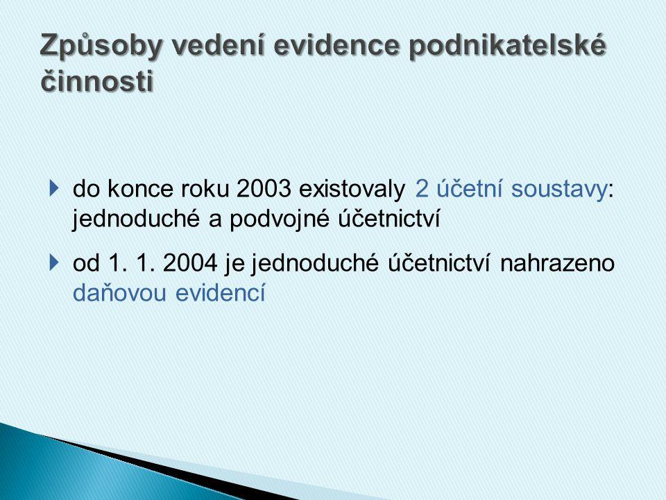  do konce roku 2003 existovaly 2 účetní soustavy: jednoduché a podvojné účetnictví  od 1. 1. 2004 je jednoduché účetnictví nahrazeno daňovou evidenc