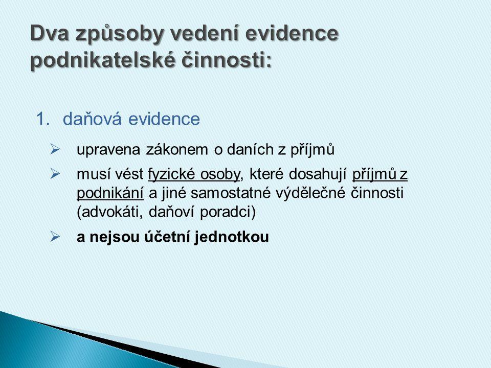 2.účetnictví  upraveno zákonem o účetnictví  vedou: 1.všechny právnické osoby (např.